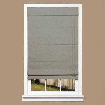 Grey Linen-Look Thermal Blackout Fabric Roman Shade - 33 in. W x 64 in. L - Home Depot