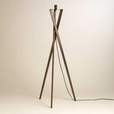 Walnut Wood Tripod Austin Floor Lamp Base - World Market/Cost Plus