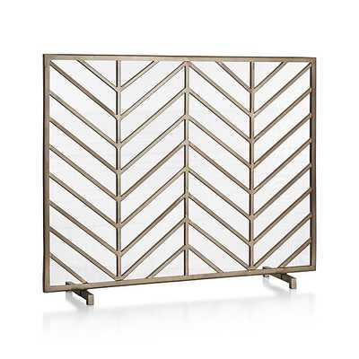 Chevron Brass Fireplace Screen - Crate and Barrel