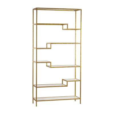 Gold and Mirrored Shelving Unit - Rosen Studio