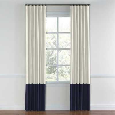 """White canvas color block curtain - 50""""W x 96""""L - Loom Decor"""
