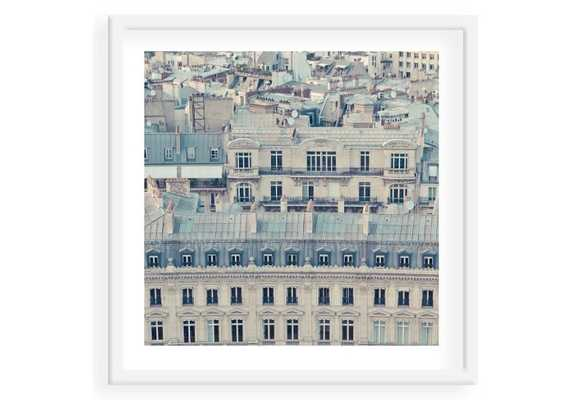 """Paris Rooftops - 24"""" x 24"""" - Framed (White) With mat - One Kings Lane"""