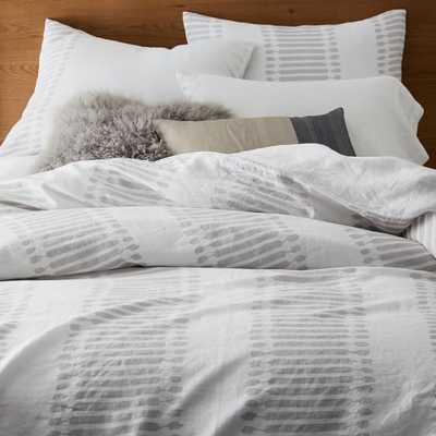 Belgian Flax Linen Ikat Stripe Duvet Cover- Full/Queen - West Elm