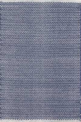 Herringbone Indigo Woven Cotton Rug-8' x 10' - Dash and Albert
