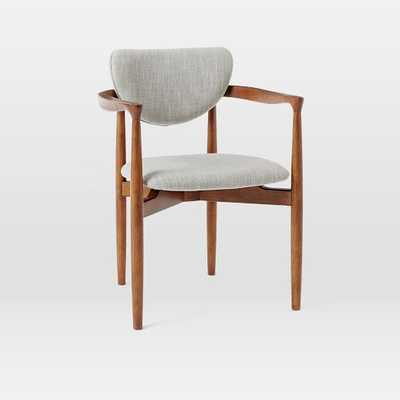 Dane Arm Dining Chairs - Individual- Platinum, Linen Weave - West Elm