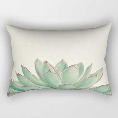 "Echeveria Rectangular Small Pillow - 17"" x 12"" - With Insert-White/Green - Society6"