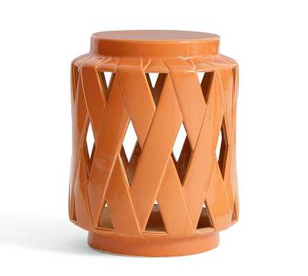 Lattice Ceramic Accent Table - Orange - Pottery Barn