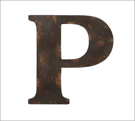 Rustic Metal Letter - P - Pottery Barn