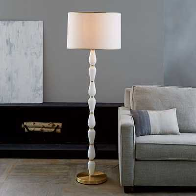 Roar + Rabbit Faceted Glass Floor Lamp – White/Antique Brass - West Elm