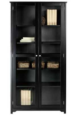 """OXFORD 72""""H BOOKCASE WITH GLASS DOORS-BLACK - Home Depot"""