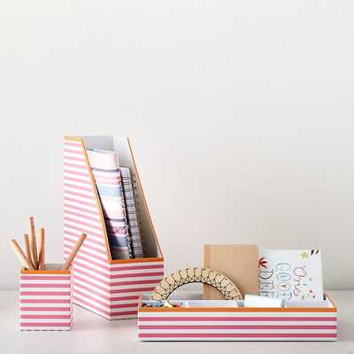 Printed Desk Accessories, Pink Stripe With Tangerine Trim - Pottery Barn Teen