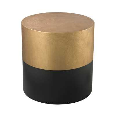 Black And Gold Draper Drum Table - Rosen Studio