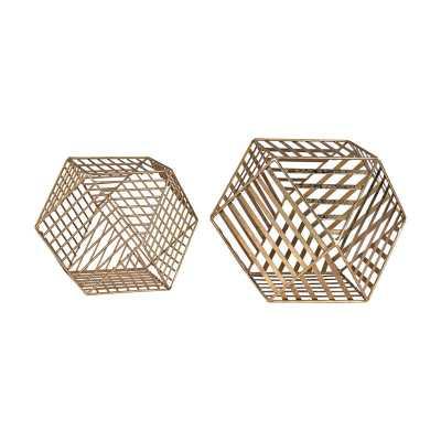 Gold Metallic Wire Dodecahedron - Rosen Studio
