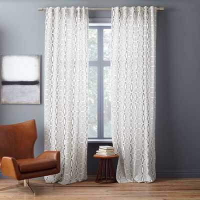 Cotton Canvas Diamond Stripe Curtain - Stone White/Slate - West Elm