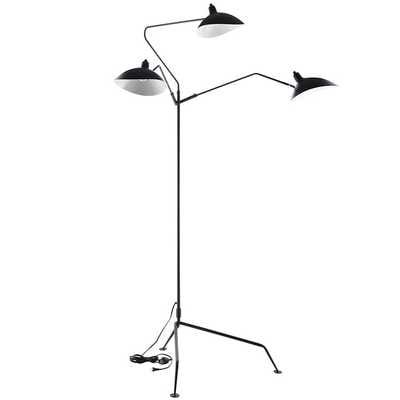 VIEW STAINLESS STEEL FLOOR LAMP IN BLACK - Modway Furniture