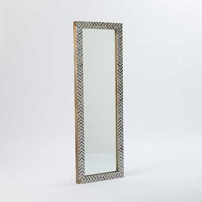 Parsons Floor Mirror, Bone Herringbone/Gray - West Elm