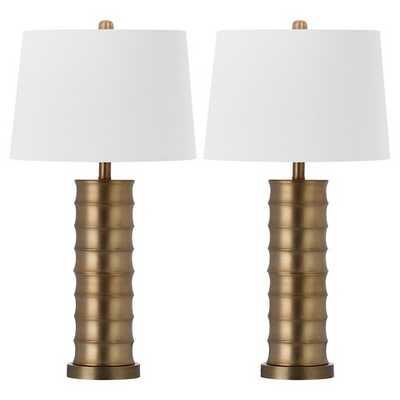 Safavieh Linus Brass Column Table Lamp (Set of 2) - Target