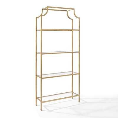 Crosley Furniture Aimee Gold Glass Etagere - Bellacor