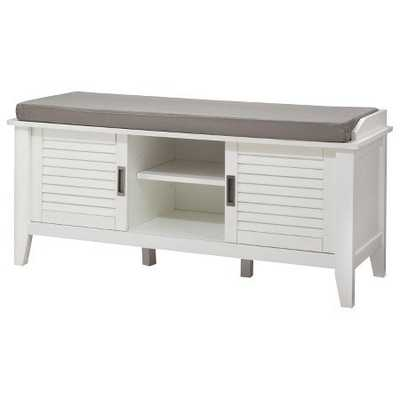 Storage Bench with Slatted Doors Wood - White - Target