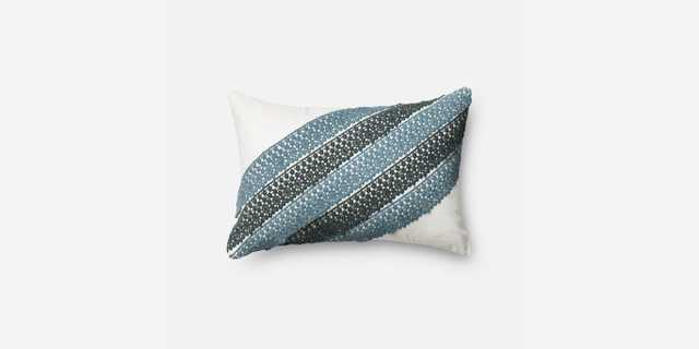 """P0322 BLUE / WHITE Pillow - 13"""" x 21"""" with Down insert - Loma Threads"""