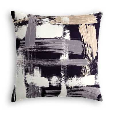 "SIMPLE THROW PILLOW | in sedge abstract - charcoal - 20""x20"" - Down Insert - Loom Decor"