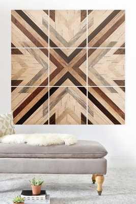 "GEO WOOD 1 Wood Wall Mural- 3'X3' (NINE 12"" WOOD SQUARES) - Wander Print Co."