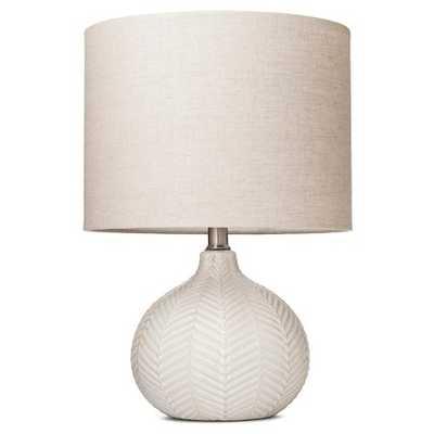 Herringbone Ceramic Table Lamp - Cream (Includes CFL Bulb) - Target
