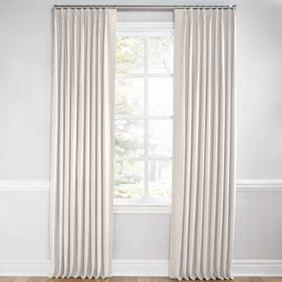 "Ivory White Velvet Pleated Curtain - No Lining, 108"" - Loom Decor"