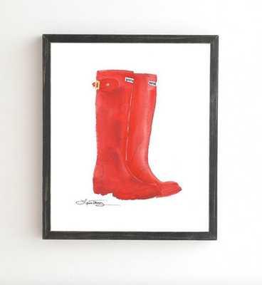RED BOOTS Wall Art - 14'' x 16.5''- Black frame, No mat - Wander Print Co.
