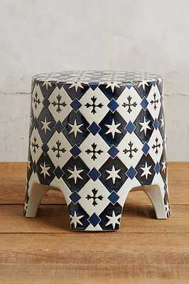 Zaida Stool - Blue motif - Anthropologie