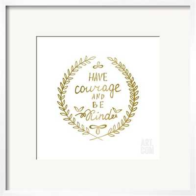 """HAND DRAWN CALLIGRAPHY LETTERING INSPIRATION QUOTE - 25"""" x 25"""" Art Print - White Frame with Mat - art.com"""