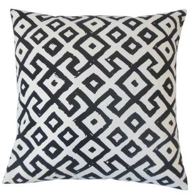 "Rizwan Geometric Pillow Black White- 18"" x 18""- Down insert - Linen & Seam"