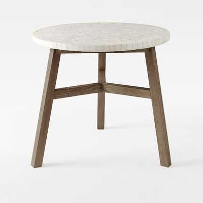 Mosaic Tiled Bistro Table - White Marble Top + Driftwood Base - West Elm