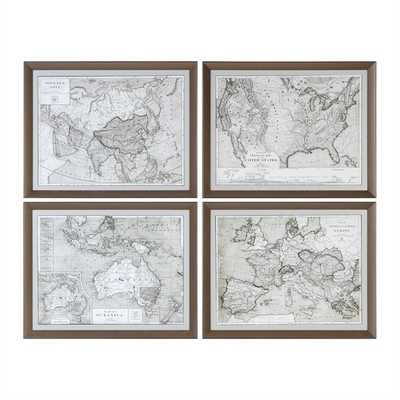 World Maps, S/4 - 28x22 - Bronze Frame - With Mat - Hudsonhill Foundry