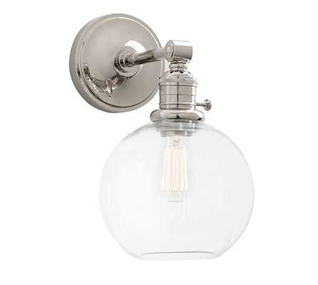 PB Classic Sconce - Glass Globe - Set of 2, Mercury Glass, Nickel - Pottery Barn