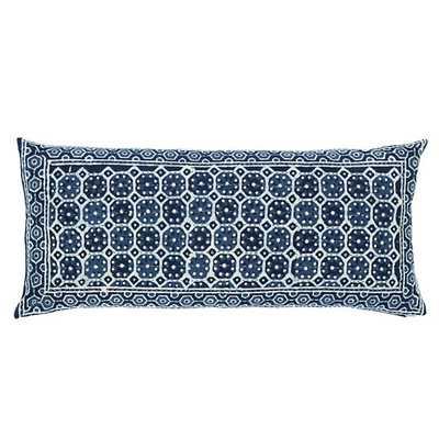 "Resist Octagon Indigo Decorative Pillow - 15"" x 35"" - Featherdown insert - Pine Cone Hill"