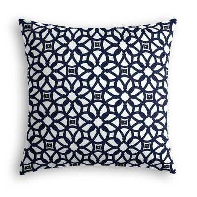 Navy Blue Floral Lattice Throw Pillow - 24x24 - Down Insert - Loom Decor