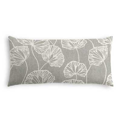 Modern gray fan leaf lumbar pillow - 12x24 - Down Insert - Loom Decor