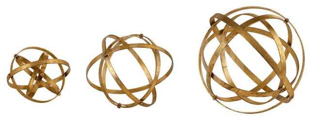 Stetson Gold Spheres - Set of 3 - art.com