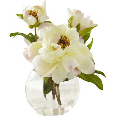 Faux White Peony Bloom in Round Glass Vase - Wayfair
