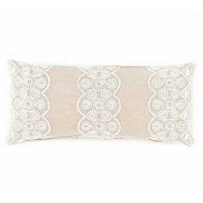 """FRENCH KNOT NATURAL DECORATIVE PILLOW - 15"""" x 35"""" - Natural - Pine Cone Hill"""