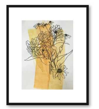 Meadow Flowers - 16x20 - Thin black wood frame - Artfully Walls