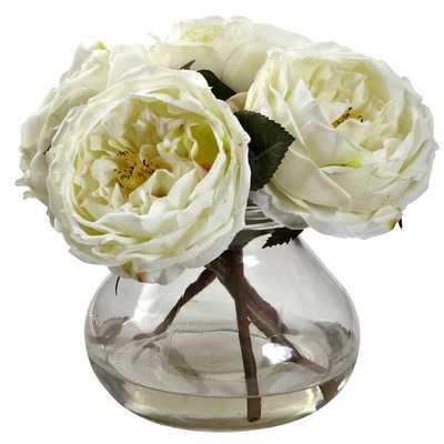 Fancy Rose Floral Arrangement - White - Overstock