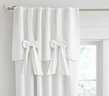 "Evelyn Linen Blend Bow Valance Blackout Panel - 96"", White - Pottery Barn Kids"
