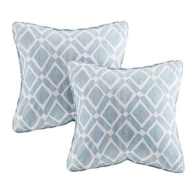 Delray Diamond Printed Throw Pillow - Set of 2  - Blue - Polyester filling - Target