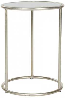 Shay Glass Top Silver Accent Table - Arlo Home