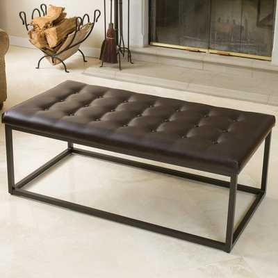 Babette Brown Leather and Steel Frame Ottoman - Overstock