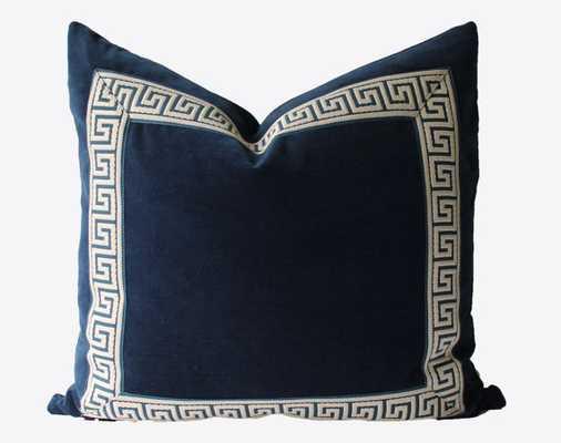 """Decorative Greek Key Pillow, Indigo/Off-White - 22"""" x 22""""  - Insert sold separately - Etsy"""
