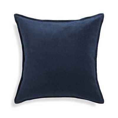 Brenner Indigo Blue Velvet Pillow 20x20 - Down alt insert - Crate and Barrel