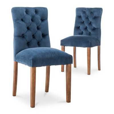 Brookline Velvet Dining Chair (Set of 2) - Midnight Blue - Target